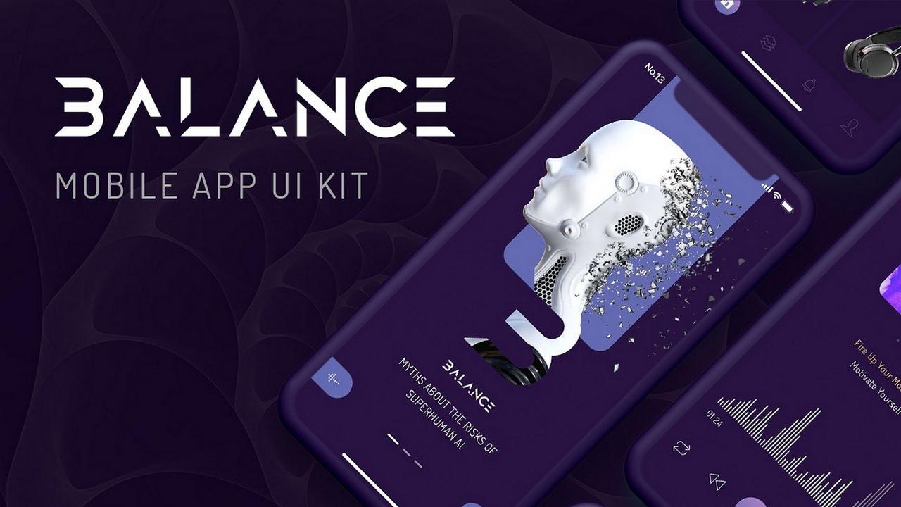 Balance Mobile UI Kit – 100+ тёмных экранов iPhone X в 9 категориях для XD и Sketch