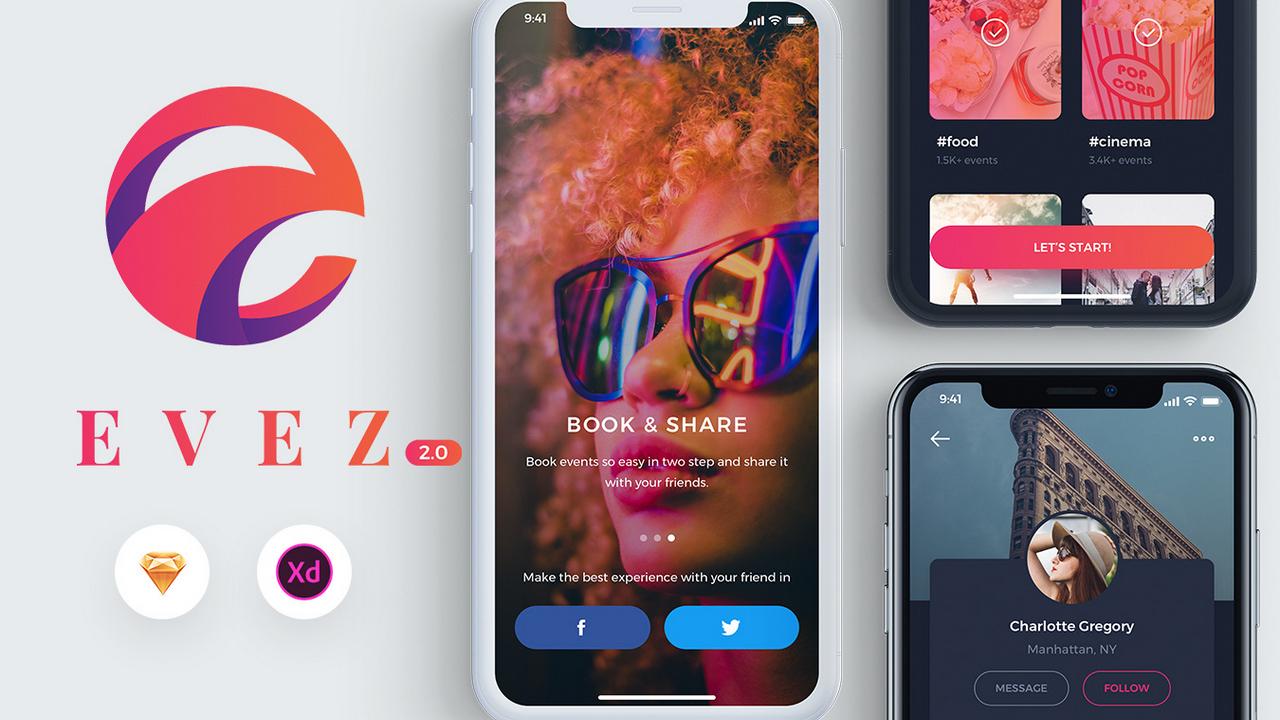 Evez 2.0 – Приложение для обнаружения событий и бронирования для XD и Sketch