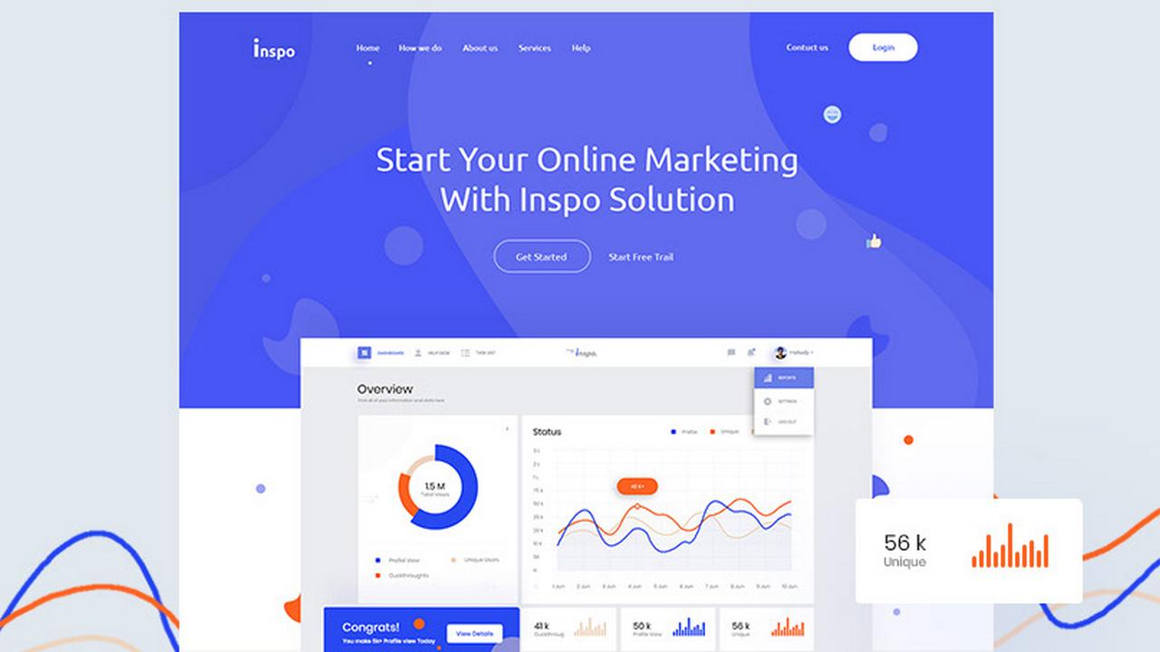 Inspo – Бесплатный шаблон UI/UX веб-сайта [XD, PSD]