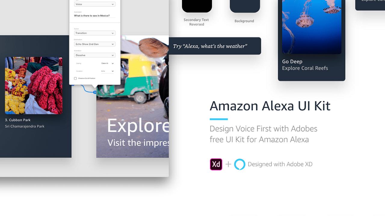 Amazon Alexa UI Kit – Бесплатный набор голосовых UI для Adobe XD
