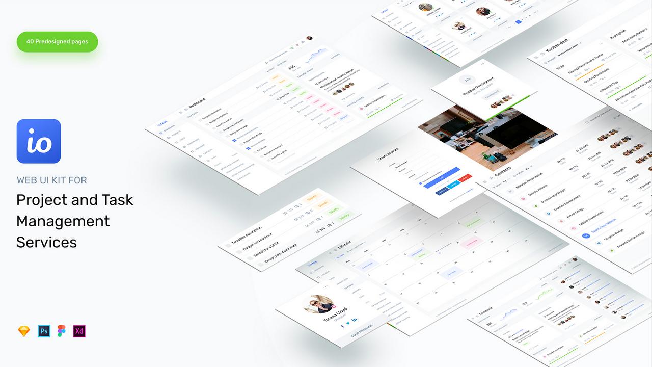 IOTASK UI Kit – Идеальный набор UI для приложений и веб-сайтов по управлению проектами