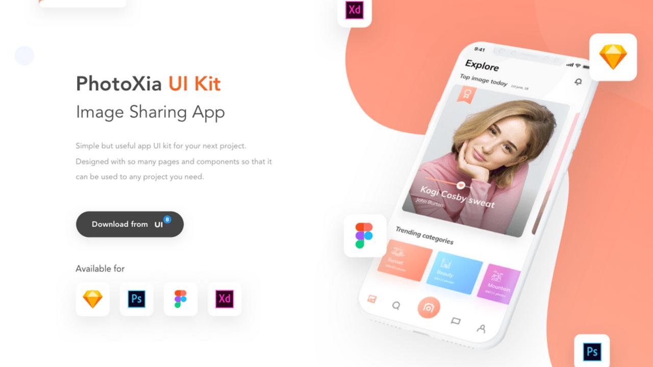 PhotoXia UI Kit – iOS приложение для обмена изображениями разработанное в Adobe XD, Photoshop, Sketch и Figma