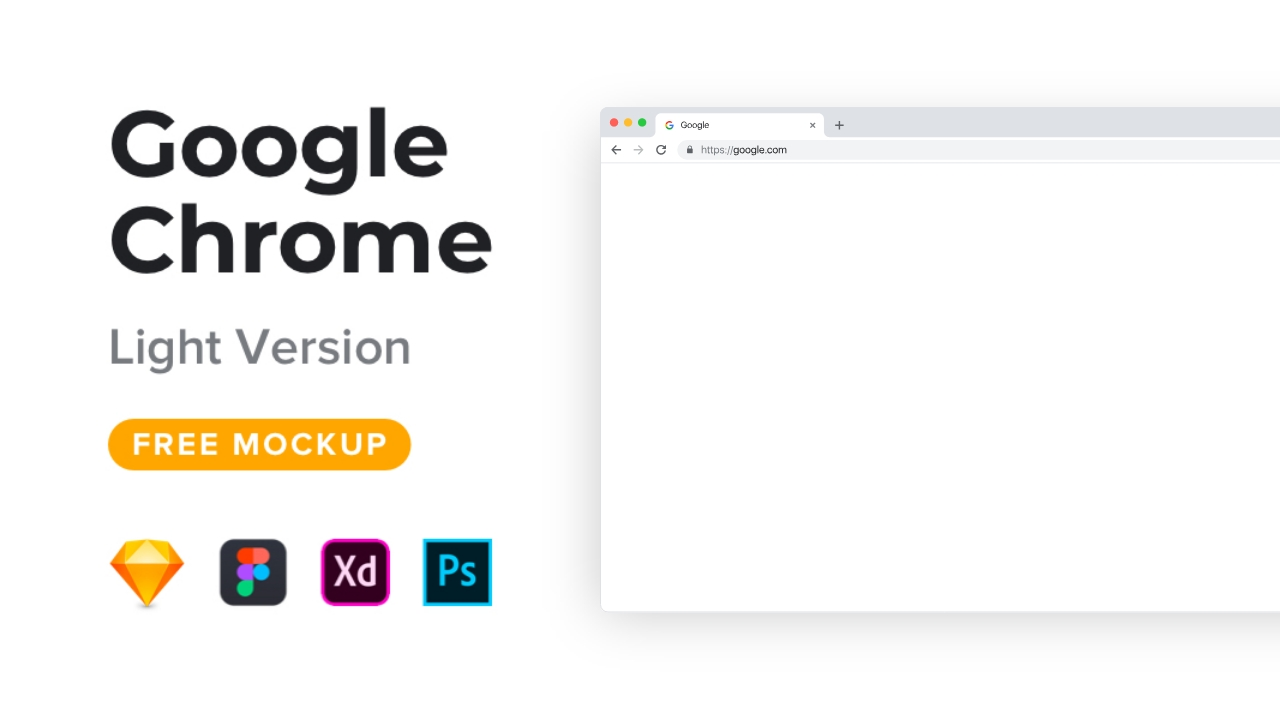Бесплатный макет светлого Google Chrome для Xd, Ps, Sketch и Figma