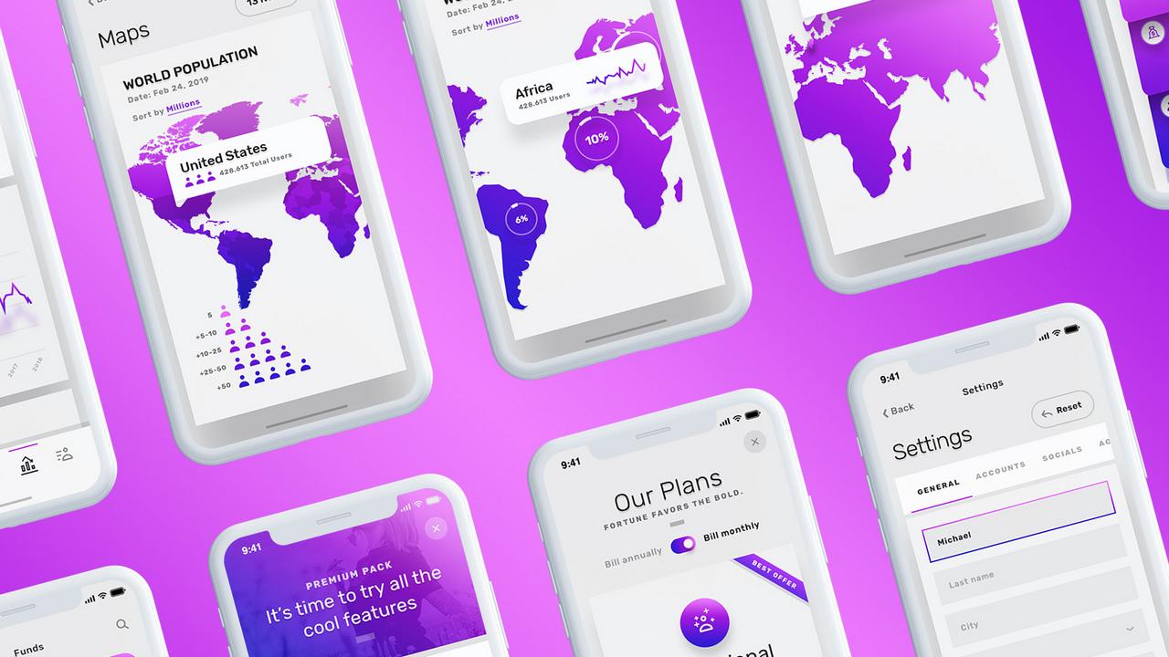 Vesper Mobile UI Kit – Сделанный вручную мобильный UI Kit и панели управления бизнесом для XD, Sketch и Photoshop