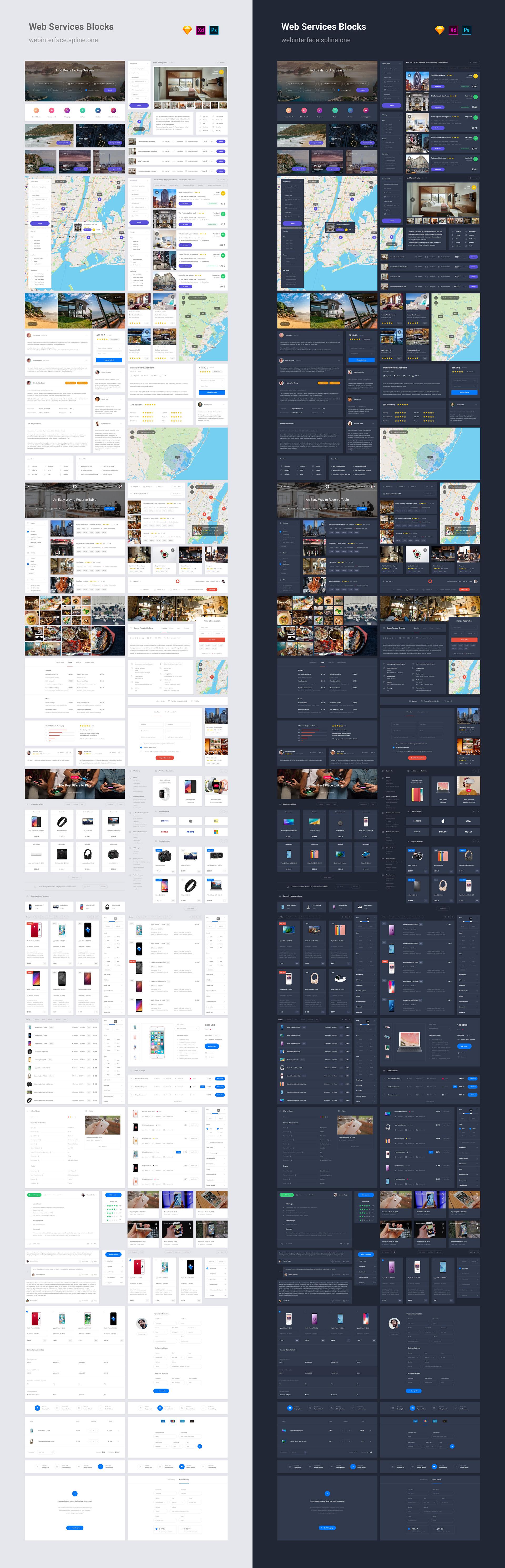 Web Interface 2 UI Kit – 150 шаблонов для Adobe XD, Photoshop и Sketch