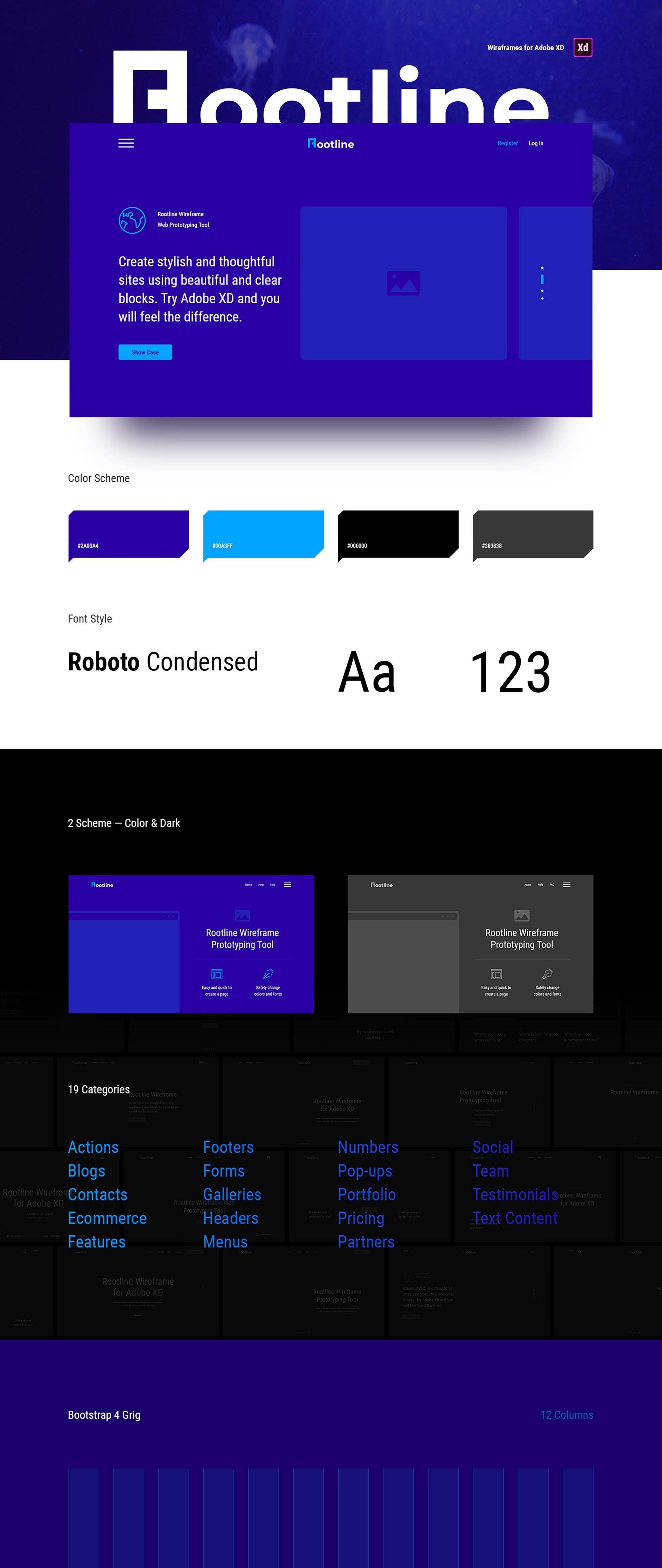 Rootline Wireframe UI Kit – Огромная библиотека готовых, стильных модулей для ваших проектов и прототипов