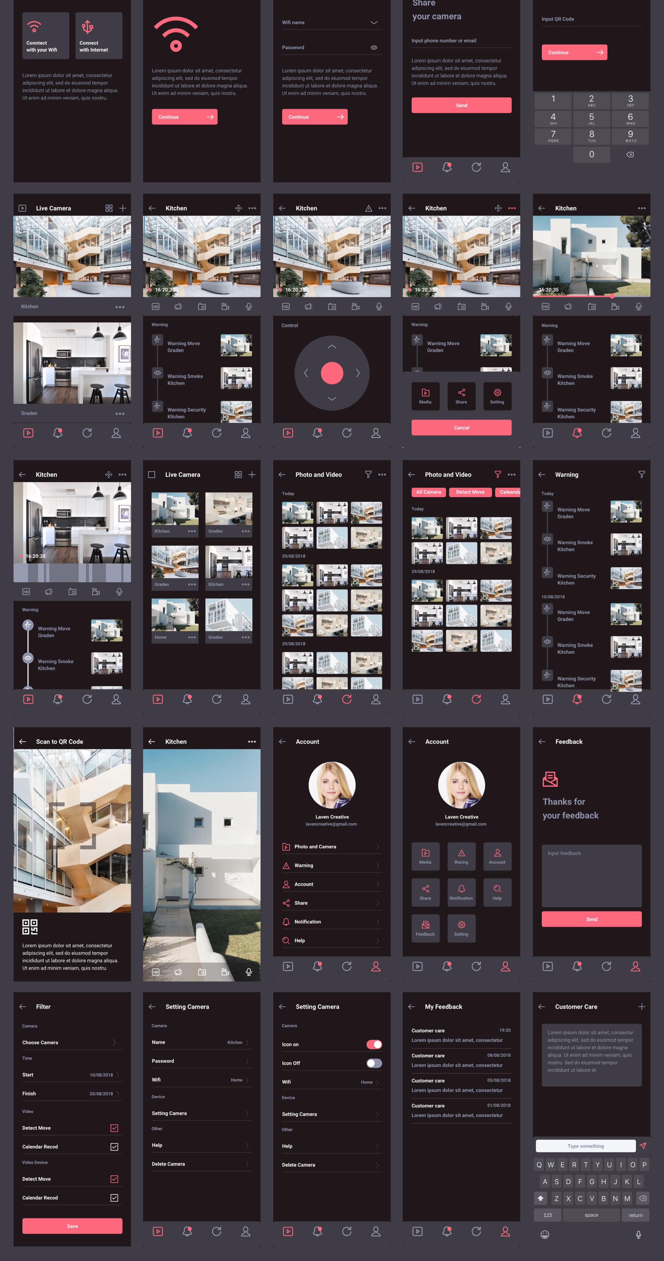 Lavencam Security UI Kit – 65 мобильных экранов и 200 элементов для XD, Sketch и Figma