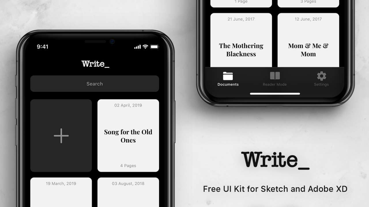 Write – Бесплатный UI Kit для Sketch и Adobe XD