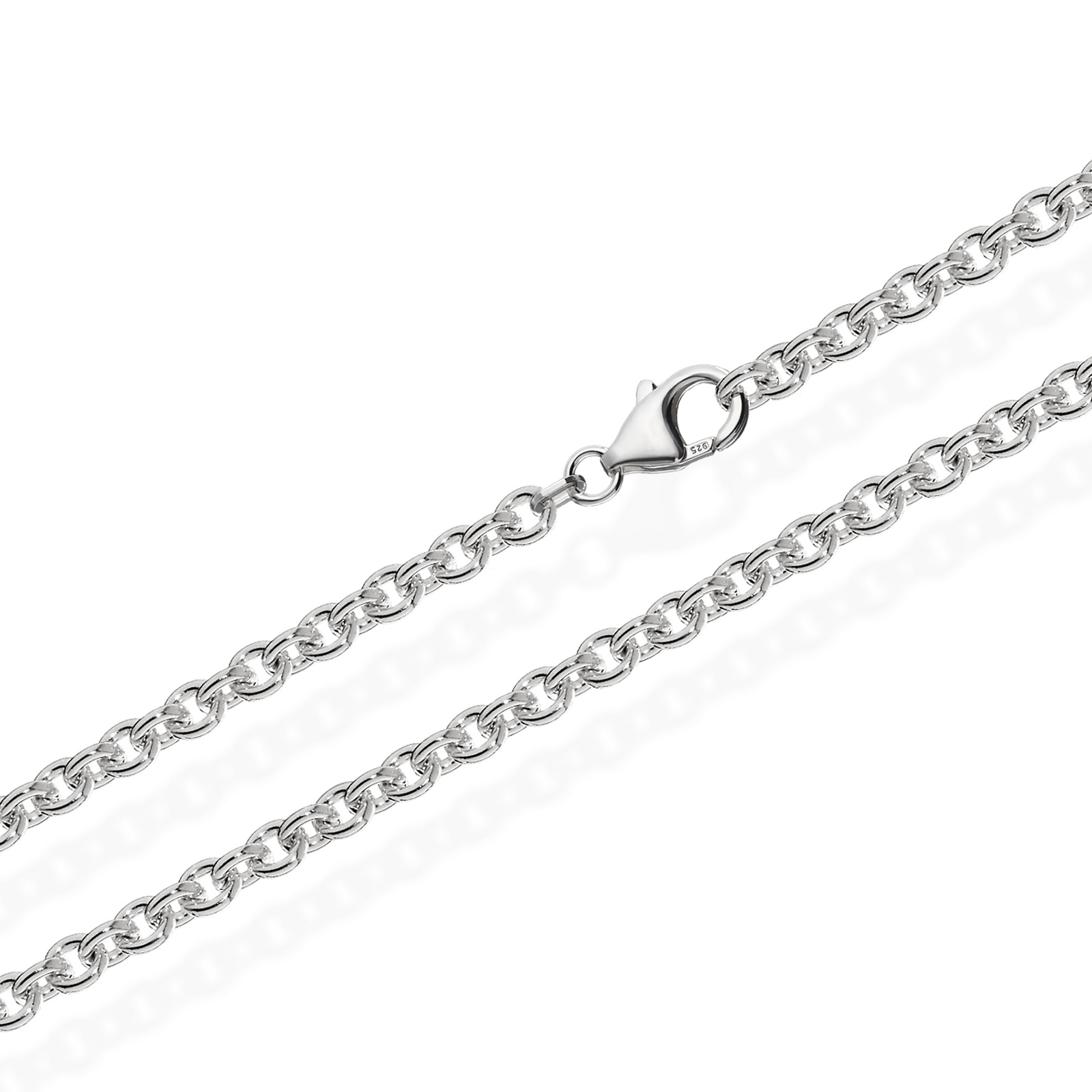 Ankerkette Rund 925 Sterling Silber Kette Massiv Halskette