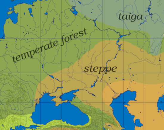 Map showing taiga, deciduous forest, and steppe.