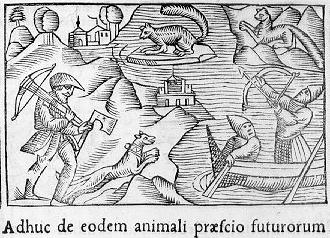 1658 woodcut of a squirrel hunt.