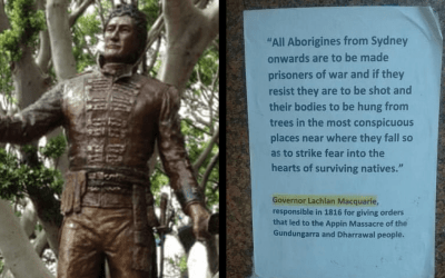 Freedom Of Speech? Activist Faces Prison For Postering Macquarie Statue