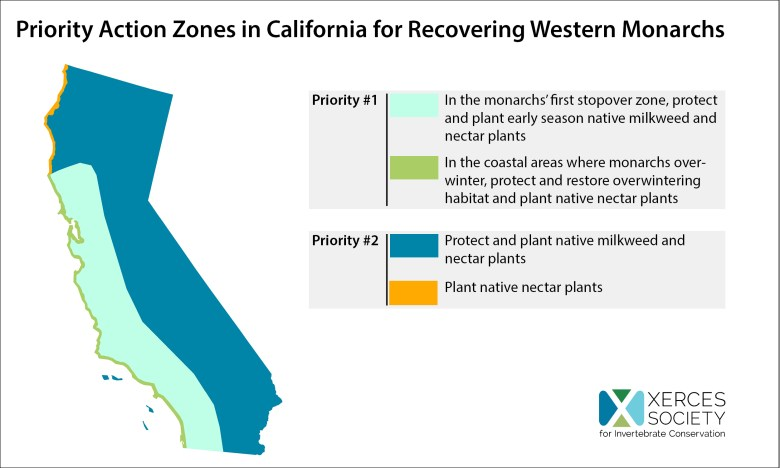 """""""Priority action zones in California for recovering western monarchs"""""""