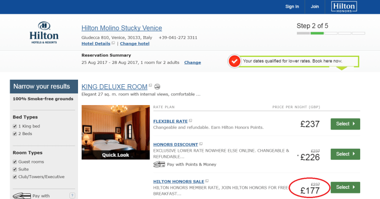 Hilton Molino Stucky Venice pricing options