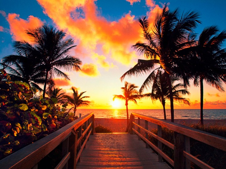 Walkway leading to a beach at sunset