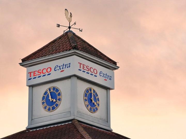 Tesco Extra sign on a clocktower