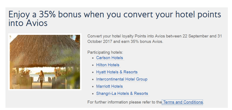 35% bonus Avios on hotel points