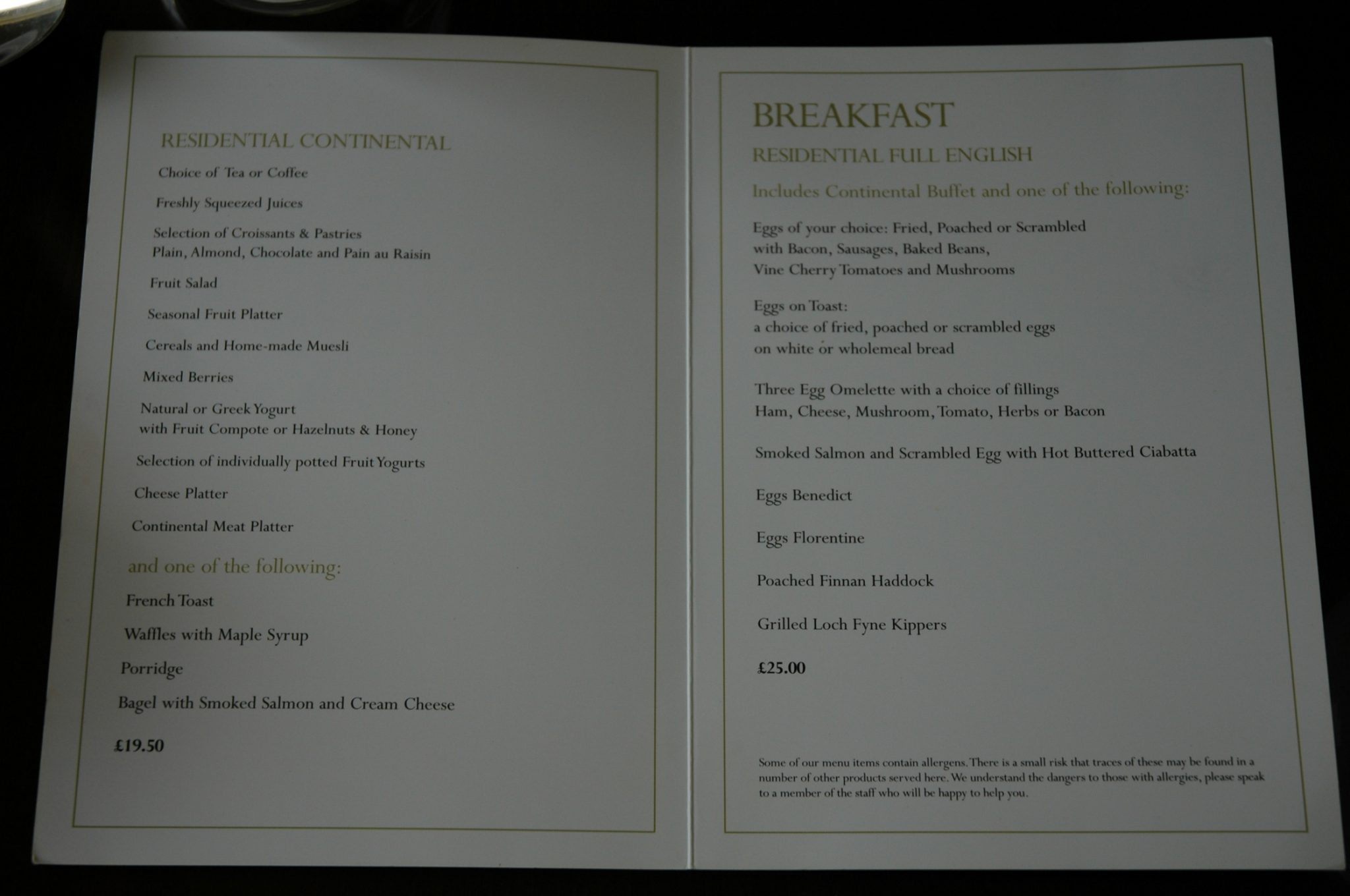 A la carte breakfast menu