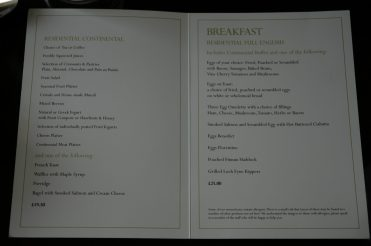 A la carte breakfast menu