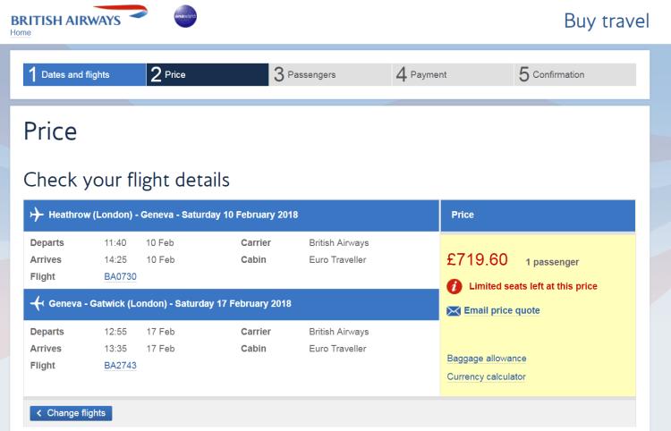 GVA flights Feb half-term