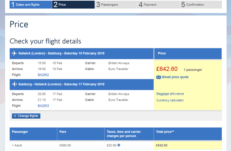 Salzburg feb half term flights pricing
