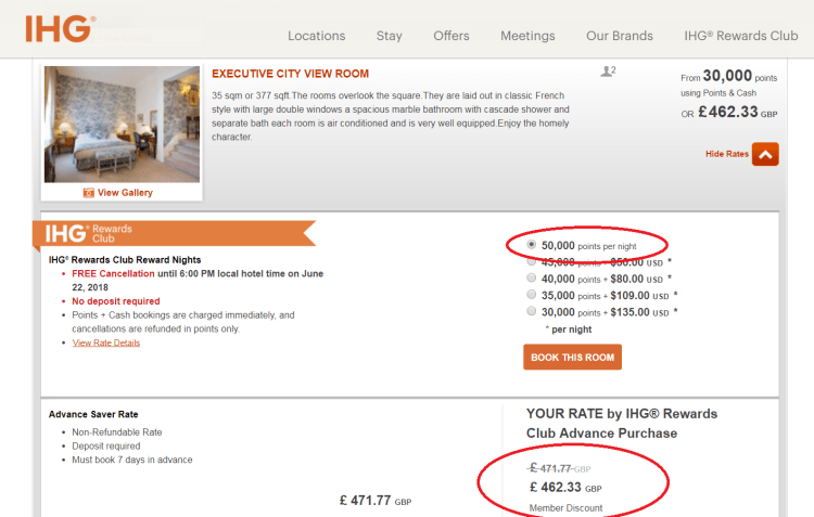IHG Amstel pricing example