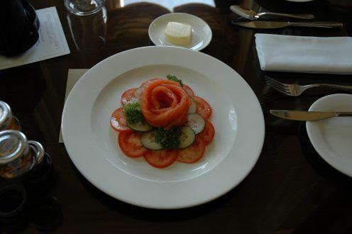 Smoked salmon breakfast dish