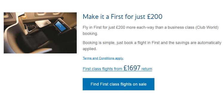 ba sale first class offer
