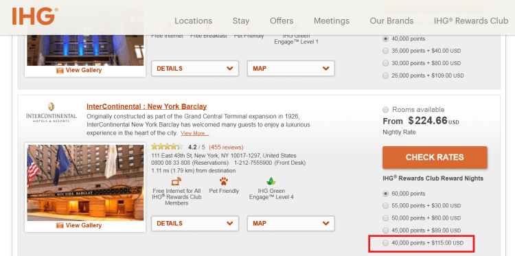 IHG cash+points rates at IC Barclay