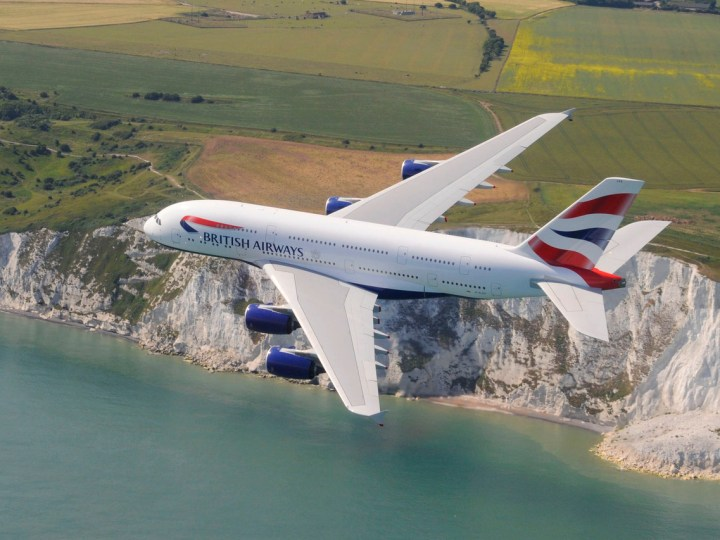 British Airways Airbus flying over the cliffs at Dover