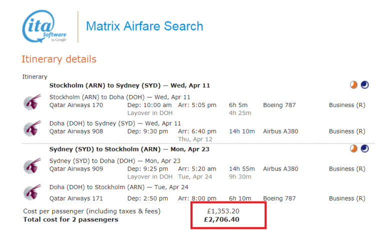 Stockholm to Sydney for £1300