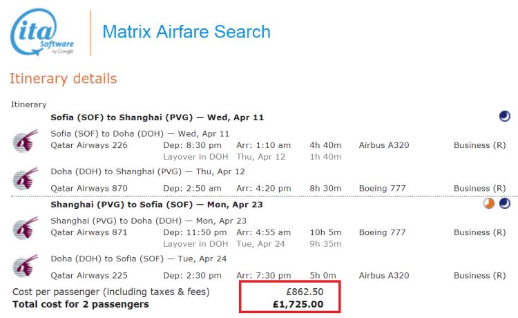 Sofia to Shanghai for £862