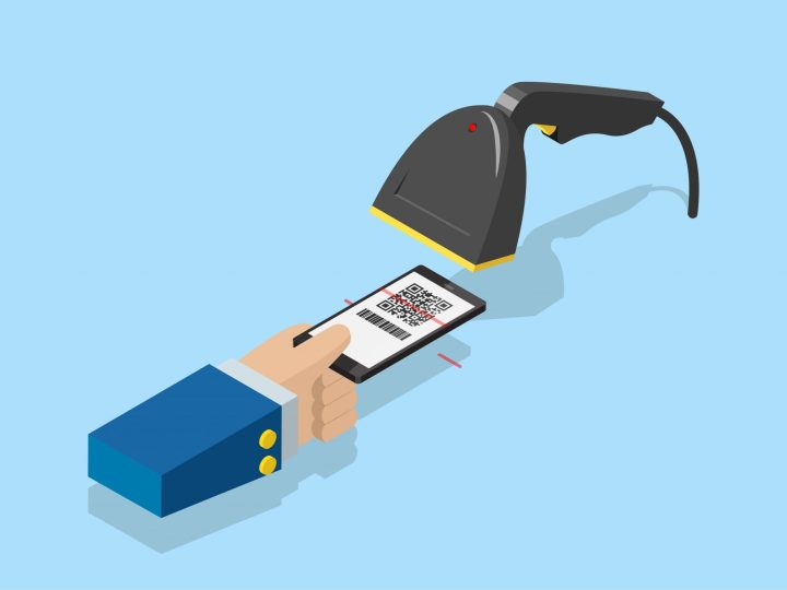 Barcode scanner reading a QR code on a smartphone