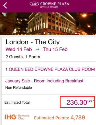 App booking of the Crowne Plaza London - The City