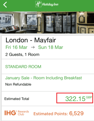 App sale price for the Holiday Inn, Mayfair