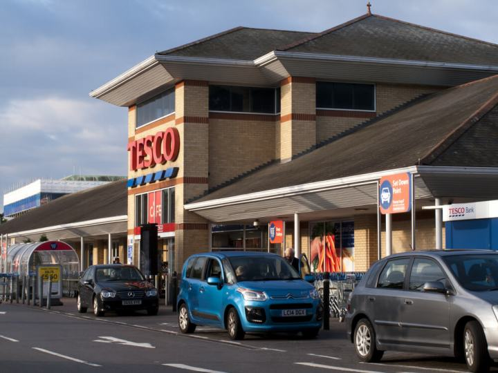 Side on profile of Tesco superstore