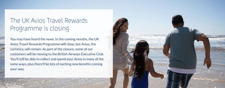 UK Avios Travel Rewards program to close