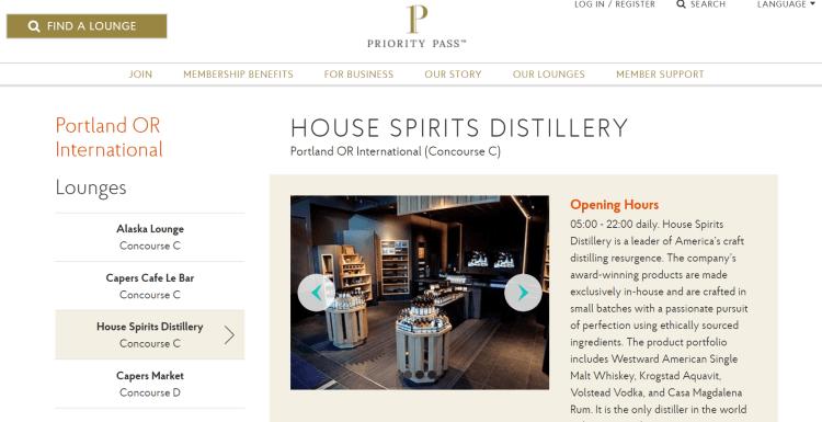 Priority Pass - House Spirits Distillery