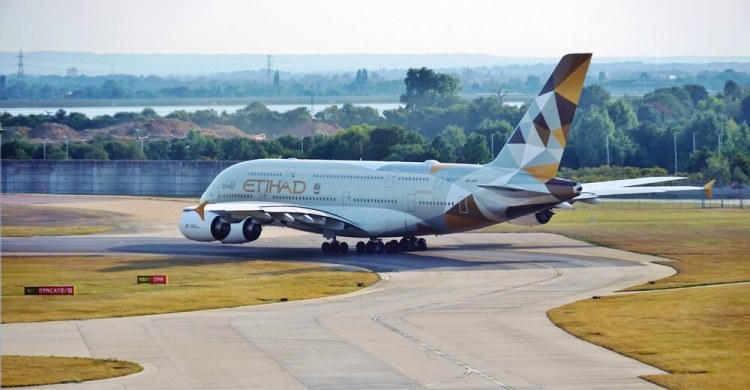 Etihad A380 at Heathrow