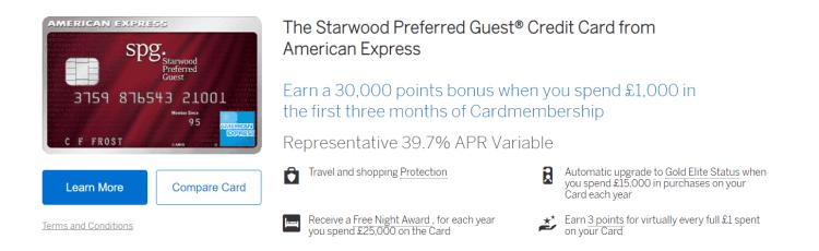 SPG Amex card listing on Amex UK website
