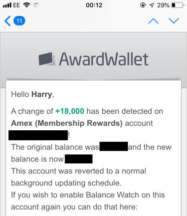 Award Wallet Balance Watch notification