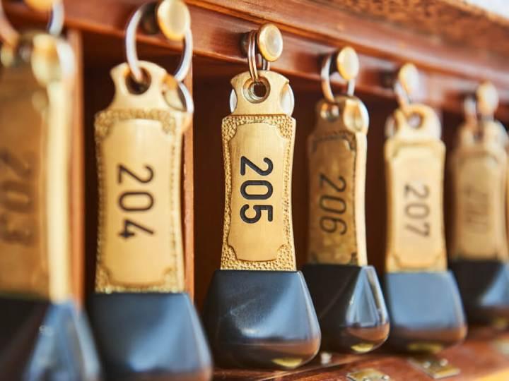 Hotel keys at reception