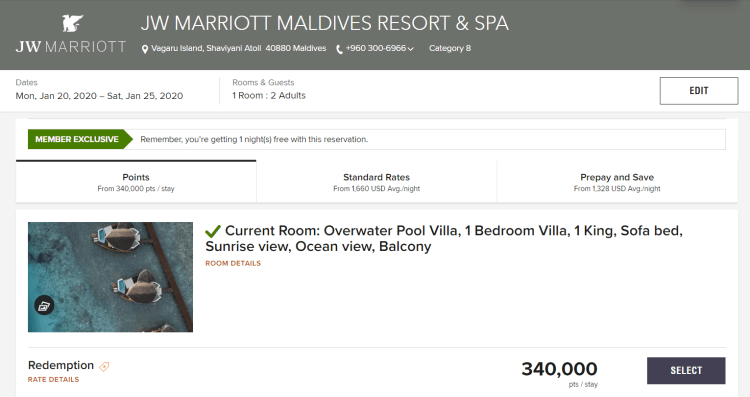 JW Marriott Maldives pricing example (1)