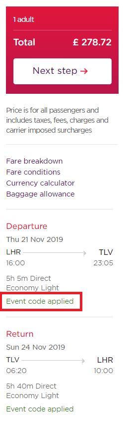 Virgin £30 Tel Aviv discount