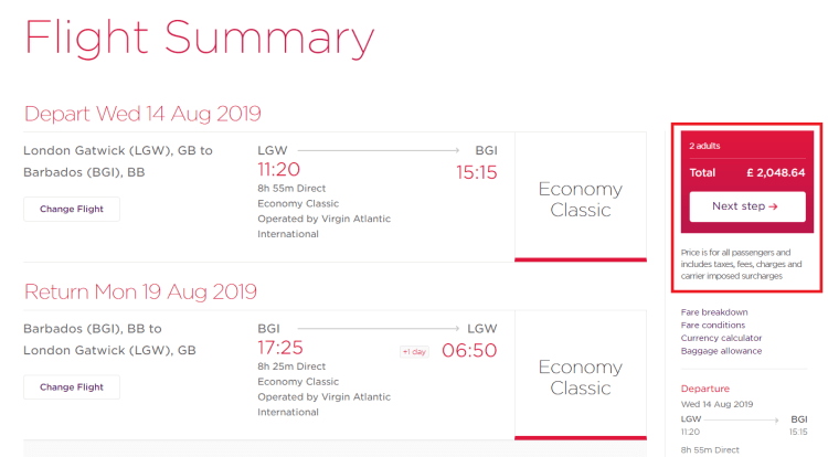 Virgin Holidays £100 Caribbean discount comparison (1)