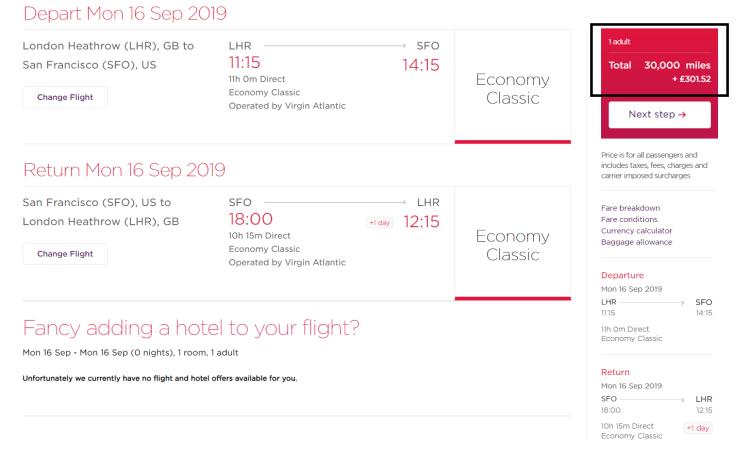 Virgin SFO cheaper economy taxes