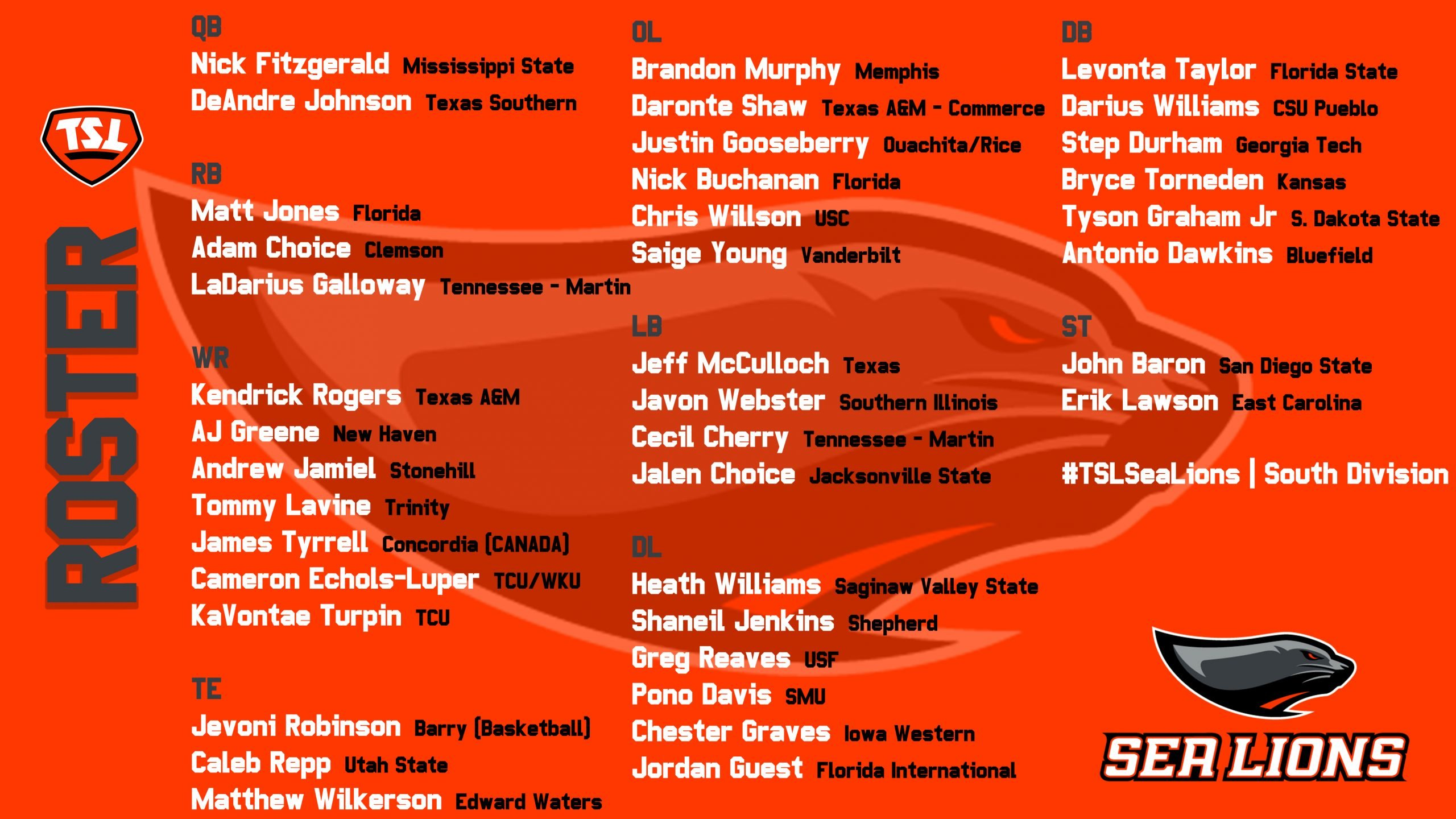 The Spring League Sea Lions 2021 Roster