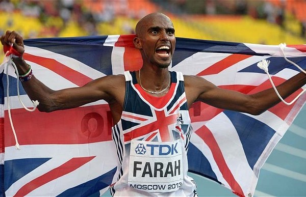 Athletics - 2013 IAAF World Athletics Championships - Day One - Luzhniki Stadium...Great Britain's Mo Farah celebrates winning the Men's 10,000m on day one of the 2013 IAAF World Athletics Championships at the Luzhniki Stadium in Moscow, Russia. PRESS ASSOCIATION Photo. Picture date: Saturday August 10, 2013. See PA story ATHLETICS World. Photo credit should read: Adam Davy/PA Wire. RESTRICTIONS: Editorial use only. No transmission of sound or moving images. Call 44 (0)1158 447447 for further information.