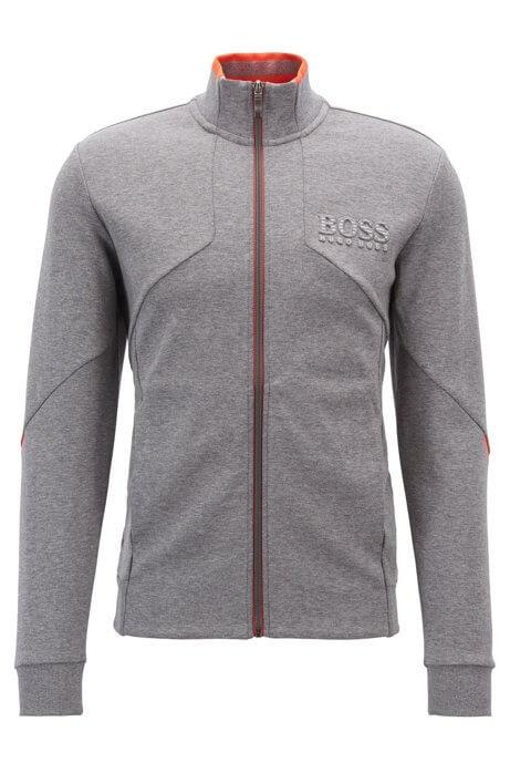 Skaz sweatshirt by hugo boss is a grey full-zip sweatshirt with 3d brandiing to the left chest