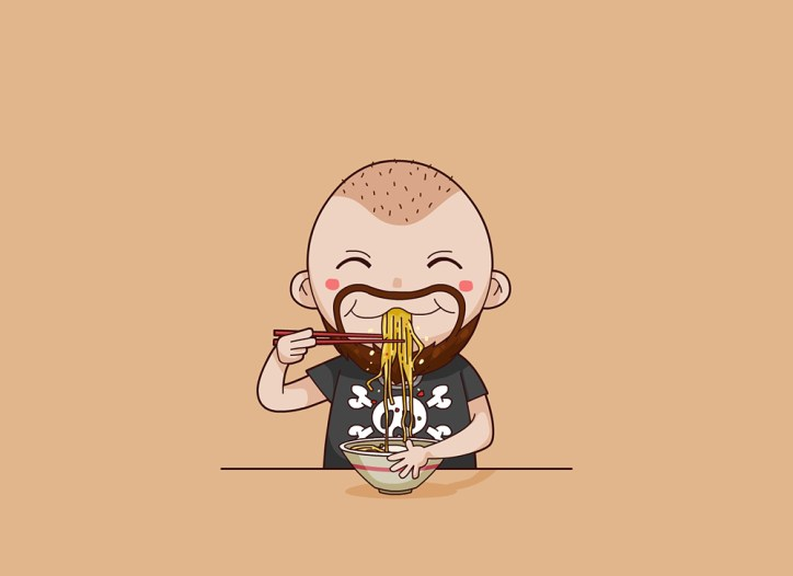 Bald man eating Ramen